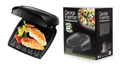 George Foreman 18840 Compact 2 Portion Family Grill Black Drip Tray Non-Stick