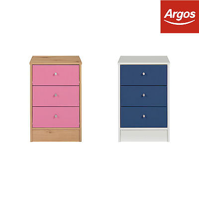 HOME New Malibu 3 Drawer Bedside Chest - Blue on White/Pink on Pine - From Argos