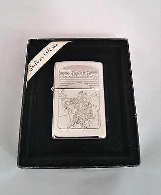 Zippo Lighter Silver Plated 1995 Joe Camel on Motorcycle Rare Mint Condition New
