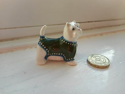 West Highland White Terrier - Beautiful Miniature Pottery Westie In Green Coat