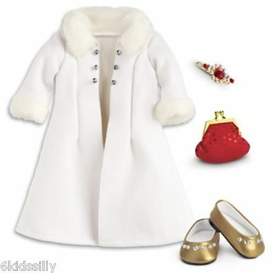 American Girl Fancy Holiday Coat Accessories Red Purse Gold Shoes Barrette New