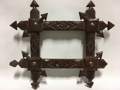 Antique Tramp Art Picture Frame ornate old folk art Carved Wood
