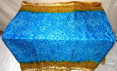 Blue Golden Pure Silk 4 yd Vintage Antique Sari Saree Made In India Steal #ADT7X