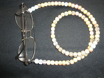 """Unique handmade 27"""" multi colour striped wood lanyard for glasses or spectacles"""