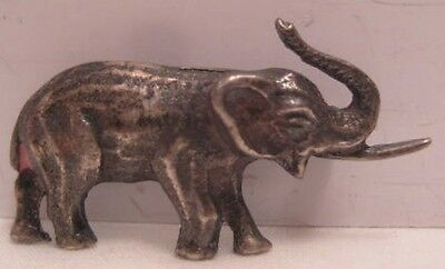 Classic Antique Sterling Silver Elephant Pin 1940s-50s