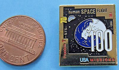 NASA PIN MERCURY vintage Space Shuttle ATLANTIS STS-71 100 Missions Freedom 7