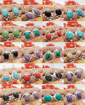 20Pair Dangle Earring New Design Mix Gemstone 925 Sterling Silver Overlay