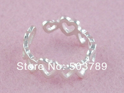 925 Sterling Silver adjustable Toe Ring with linked hearts *very pretty & cute*