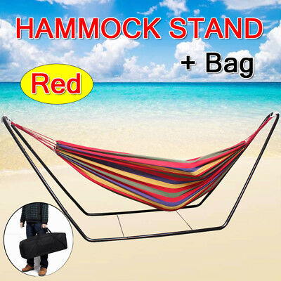 Outdoor Leisure Cotton Fabric Double Hammock Steel Frame Stand Combo Swing Chair