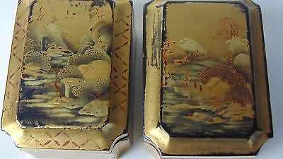 Pair Of Japanese Antique Gold Makie Lacquered Box's - EDO PERIOD