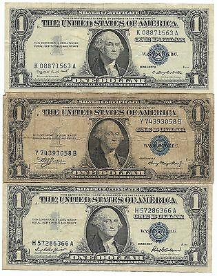 US 1935 1957 Blue Seal Silver Certificate Dollar Bill Collection Paper Money Lot
