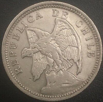 1932 Chile Peso Large Foreign Silver Coin