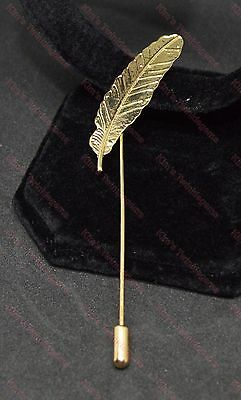 Lovely Men's Gold Feather Lapel Pin Stick Brooch