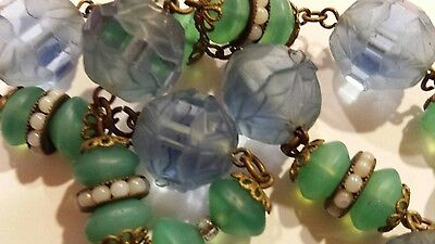 RARE 1930's czech glass bead necklace with blue carved glass beads
