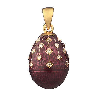 Faberge Egg Pendant / Charm with crystals 2.3 cm purple #2-1504-12