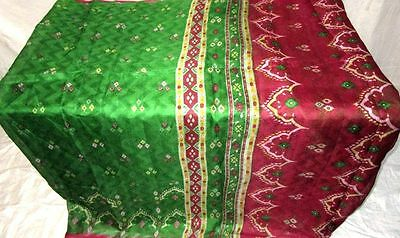 Green Maroon Pure Silk 4 yard Vintage Sari Saree customer delight Gift UK #ADTBD