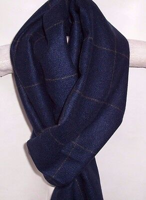 Mens Soft Cashmere Feel Scarf Reversible Navy Blue Grey Squares Plain Frayed End