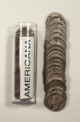 Roll of 50 $5 Face 90% Silver Mercury Dimes Full Dates - Free Ship