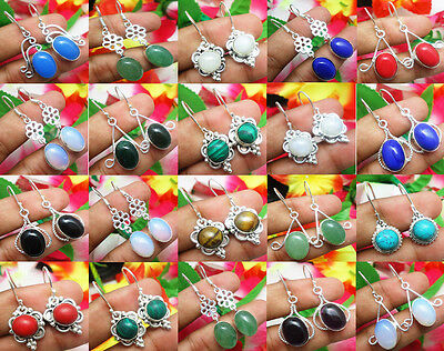 Latest Design Mix Gemstone 925 Sterling Silver Overlay 10Prs Lot Dangle Earring