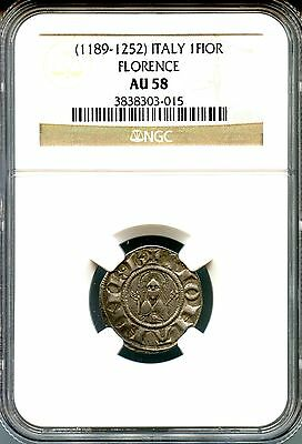 Italy - Florence ~ (1189-1252) ~ 1 Fiorino ~ Silver ~ Ngc Au58