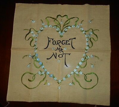 """Antique Vintage Society Silk Embroidered Pillow Top """"FORGET ME NOT"""" Sweetheart"""