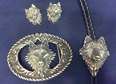 Vintage Pewter Wolf Earrings, Belt Buckle & Neck Piece Set 1994 Ejc Usa Mint