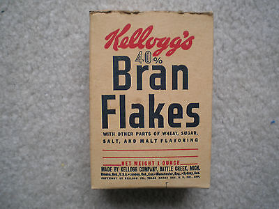 Kellogg's 40% Bran Flakes Sample Size Cereal Box 1946 Complete