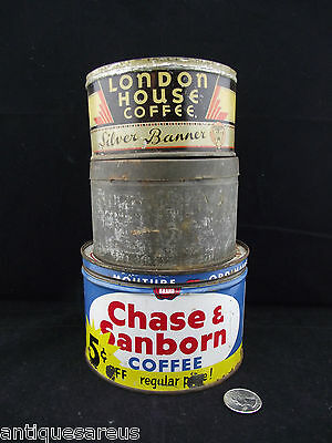 ANTIQUE COFFEE TIN LOT 2 Chase and Sanborn LONDON HOUSE