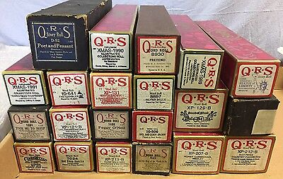 Group of 21 Vintage QRS Player Piano & Word Rolls in boxes
