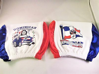 2pc Dominican Republic Headrest CAR Cover Seat Slip Flag DR Rep Spanish