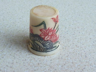 Beautiful Bone Thimble Flowering Lily Pad Design