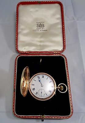 Antique 9ct Solid Gold Full Hunter Pocket Watch 1927