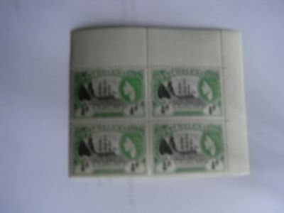 1953 ST.HELENA SG153 1/2dBADGE OF ST.HELENA.BLOCK OF 4 UN MOUNTED MINT