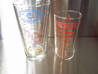 "2 ad glasses Wacker's measure & Union Made ""Tastes Better in a glass container"""