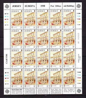 a119 - JERSEY - SG517 MNH 1990 EUROPA - POST OFFICE BUILDING BROAD ST - SHEETLET