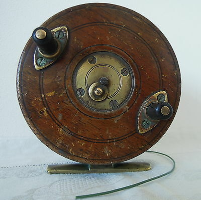 Antique Wood & Brass Starback Fishing Reel 4 inch with Slater Catch Release