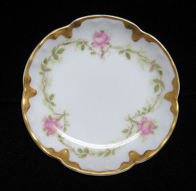 Vintage Haviland Limoges France Porcelain Butter Pat ~ Pink Roses w/ Gilt Trim