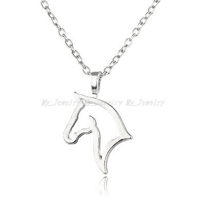 Charm Women Love New Lady Horse Head Pendant Necklace Mother Kids Silver Plated