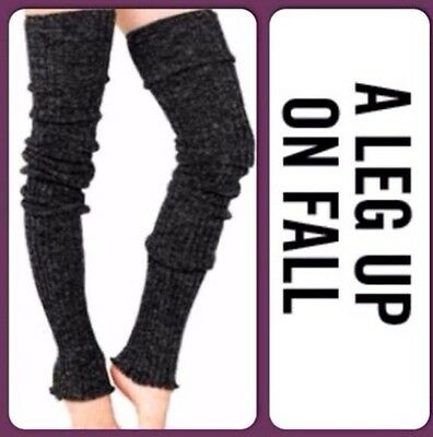 """THIGH HIGH Long LEG WARMERS Over Knee CHARCOAL GRAY Warm Thick Cable Knit 39"""""""