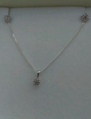 BEAUTIFUL STERLING SILVER AND DIAMOND NECKLACE AND EARRING SET .10ct