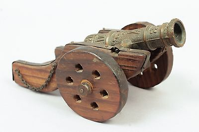 Vintage Early 20c Miniature Spanish Galleon Cannon Desk Model