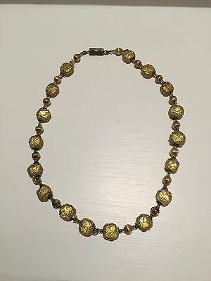Fine Collectible Antique Bohemian Venetian Handmade Glass Gold Beads Necklace