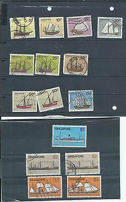 Singapore stamps. 1980 Ships lot used. (Y130)