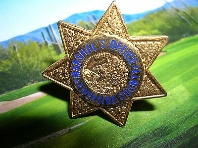 RIVERSIDE COUNTY CA Marshal's Office Mini Gold STAR  Police Badge PIN Tie Tac