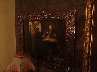 Arts & Crafts Scottish Hammered Copper Picture frame with Robert Burns Quote