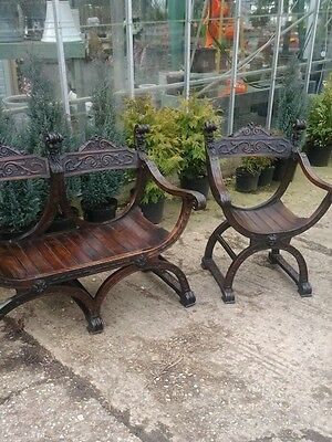 19th Century Italian Bench set and Chair