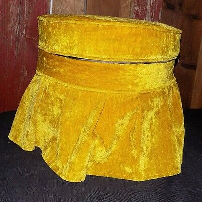 Vintage Foot Stool Ottoman Round Storage Mid Century Gold Pleated Skirt