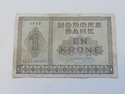 1944 Norway Norges Bank 1 Krone Banknote - Rare Wwi