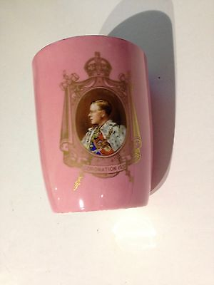 A 1937 Royal Doulton Edward VIII Curved Sided Pink Commemorative Beaker