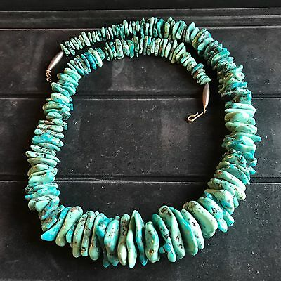 Navajo Sterling Silver Turquoise Free Form Graduated Bead Necklace Heavy 181 gr.